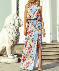 powder blue floral split maxi dress