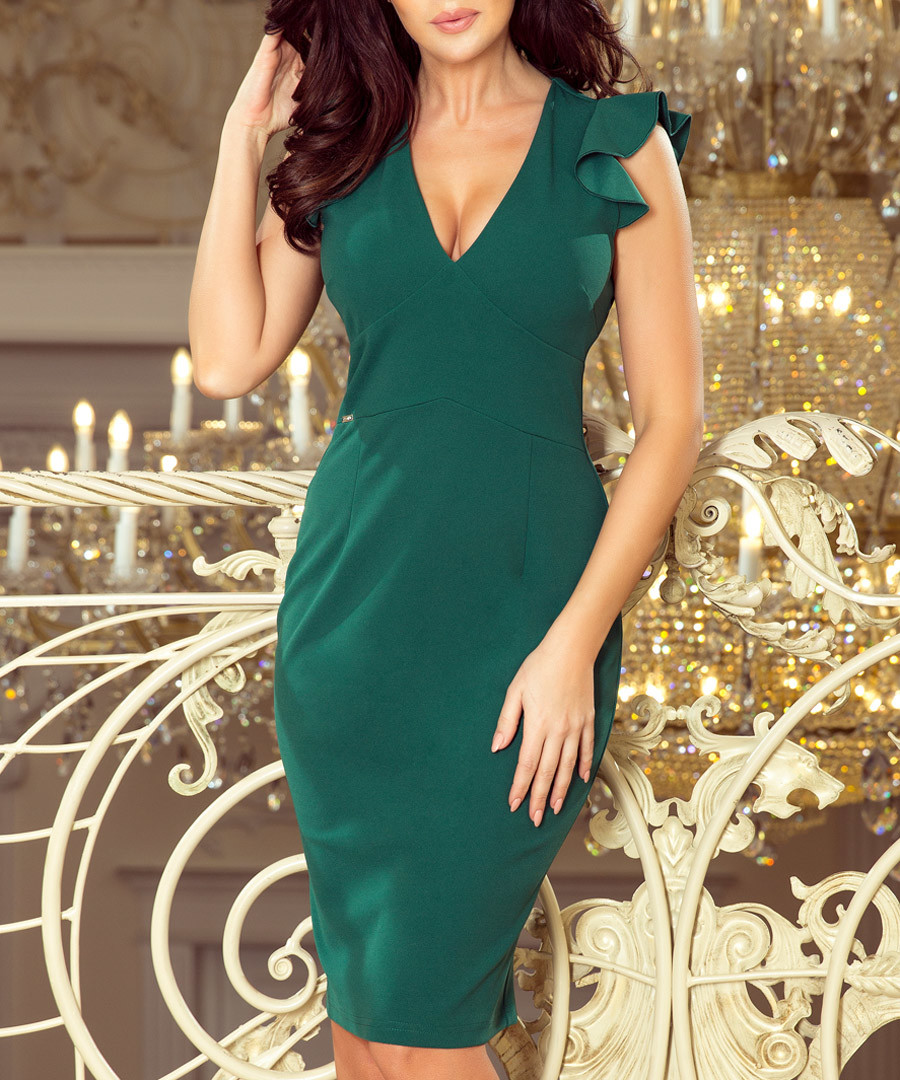 teal shoulder ruffle V-neck dress Sale - numoco