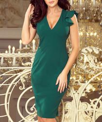 teal shoulder ruffle V-neck dress