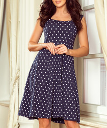 navy polka sleeveless dress