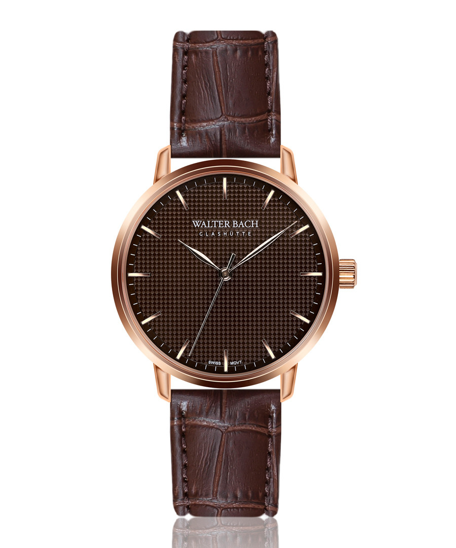 aachen walnut leather watch Sale - walter bach