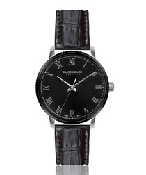 eisenach black leather moc-croc watch