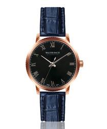 regensburg blue leather moc-croc watch