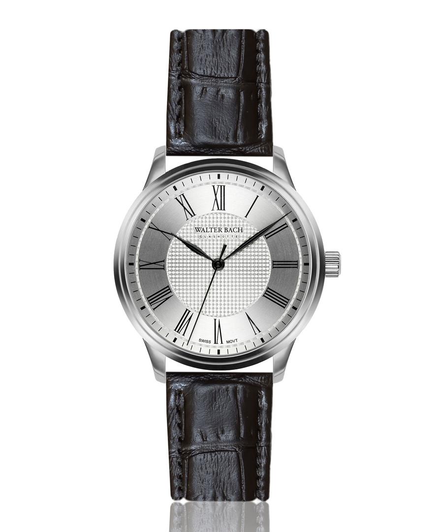 cochem black leather moc-croc watch Sale - walter bach