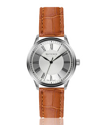cochem ginger leather moc-croc watch