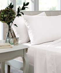 Percale white cotton double fitted sheet