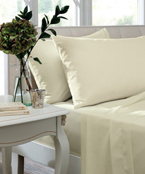 Percale ivory cotton single fitted sheet