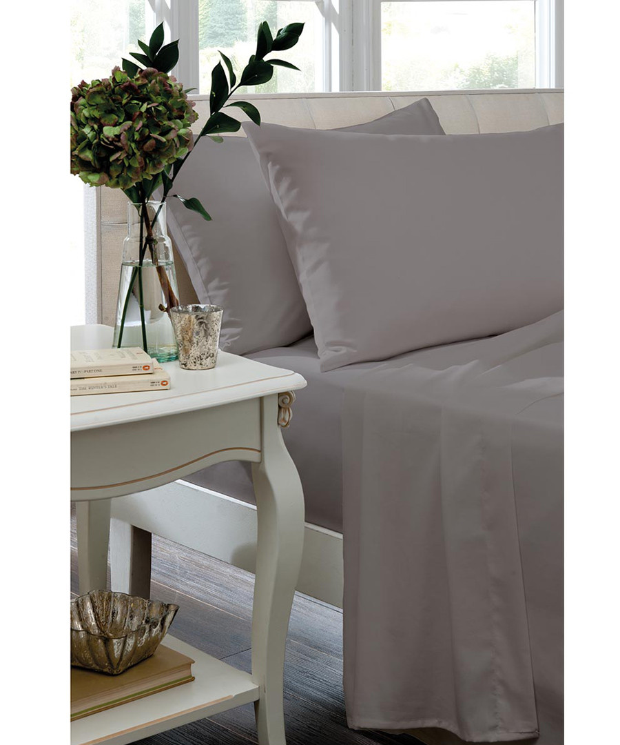 Percale silver cotton single fitted sheet Sale - the linen consultancy