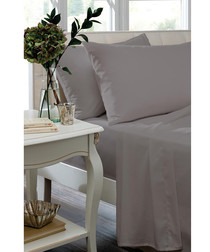 Percale silver cotton single fitted sheet