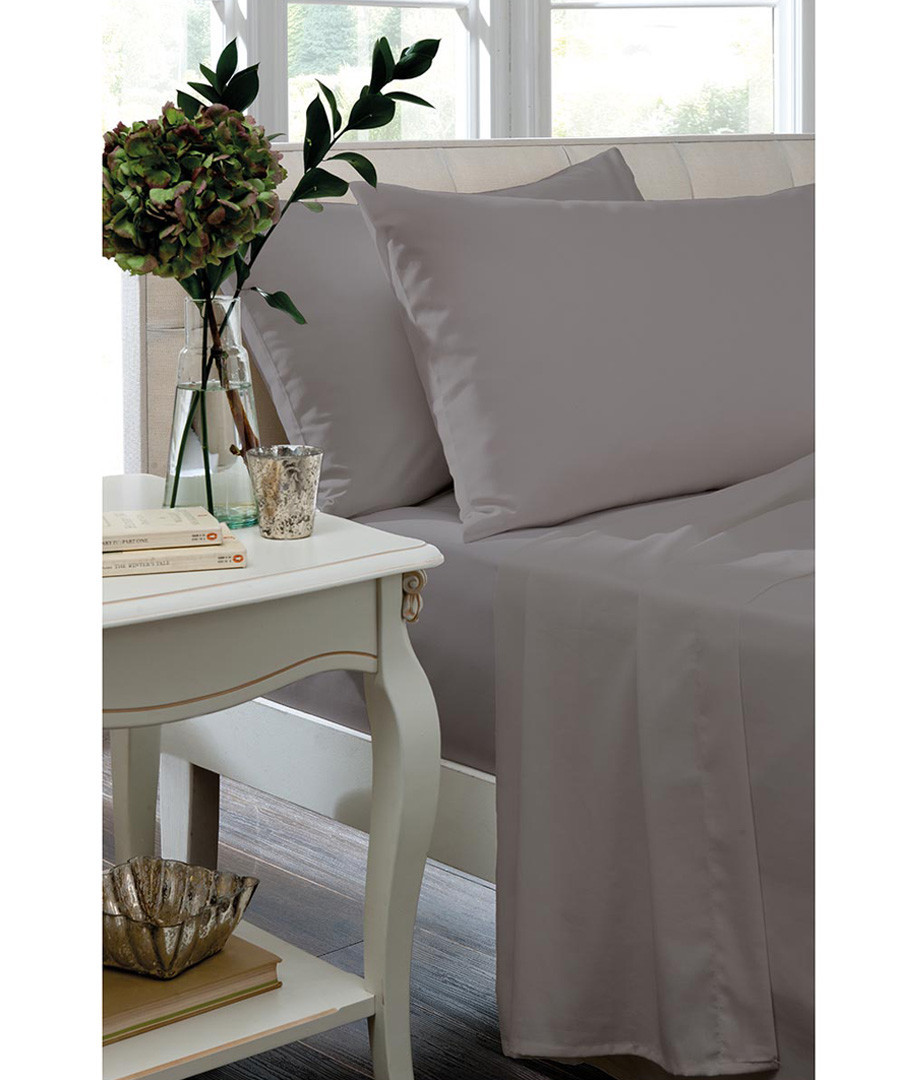 Percale silver cotton double fitted sheet Sale - the linen consultancy