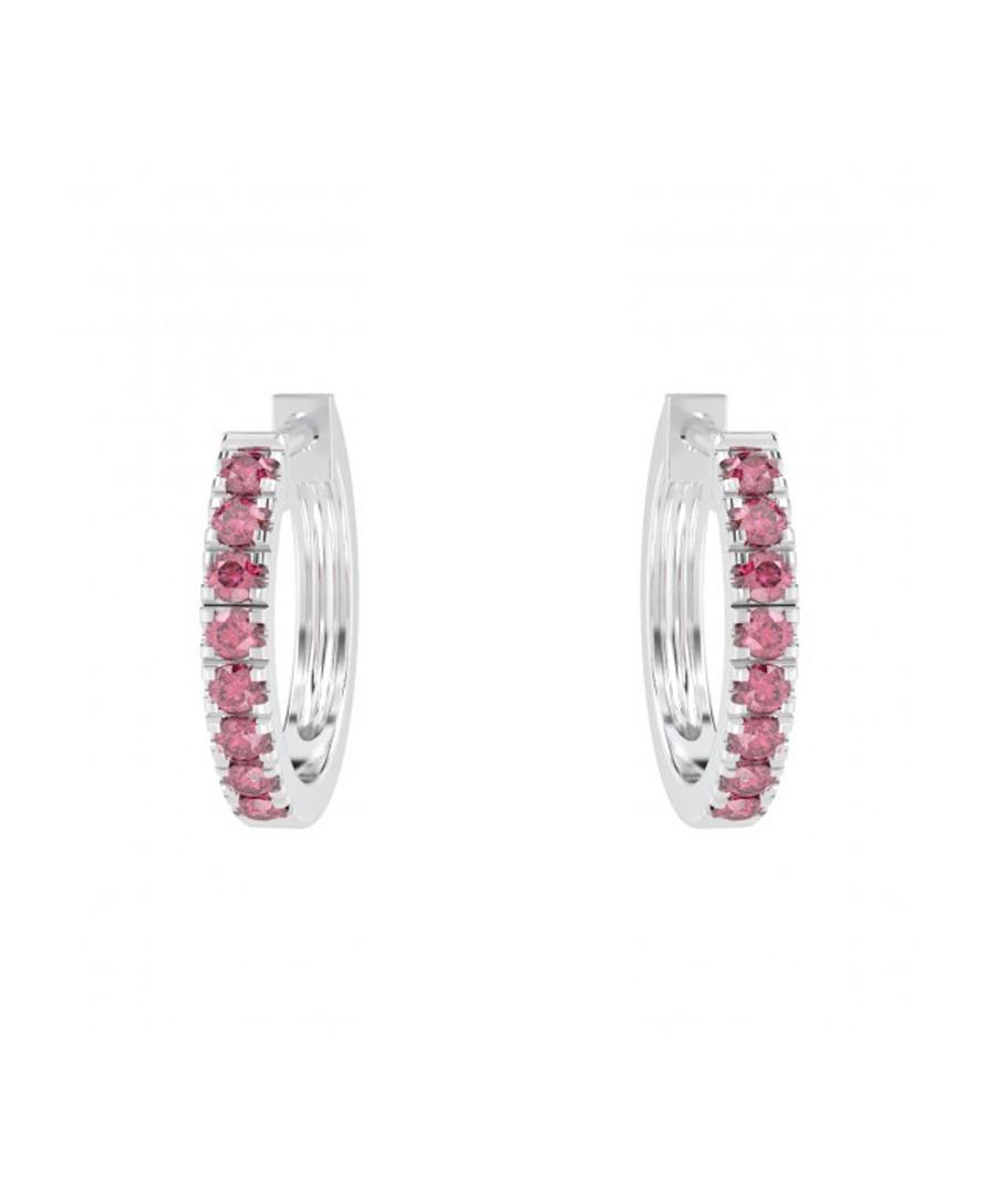 Ruby & 9k white gold hoop earrings Sale - Buy Fine Diamonds