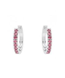 Ruby & 9k white gold hoop earrings