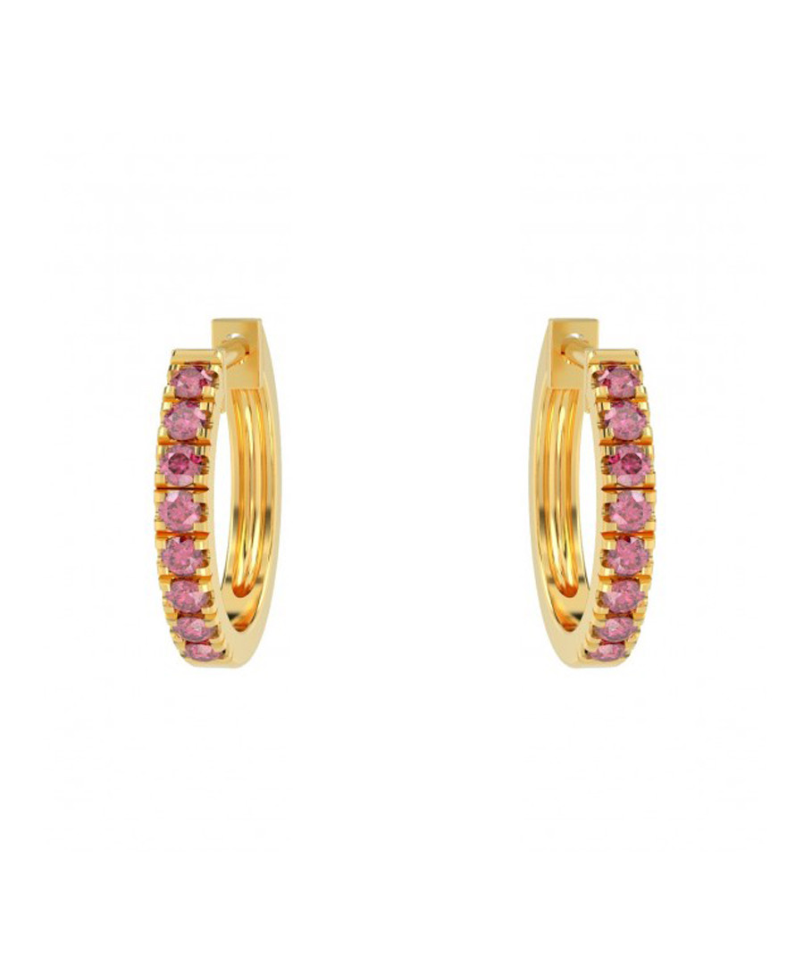 Ruby & 9k yellow gold hoop earrings Sale - Buy Fine Diamonds
