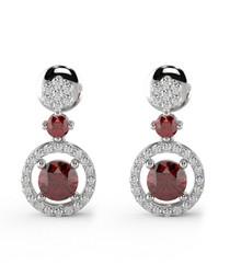Ruby & diamond halo drop earrings