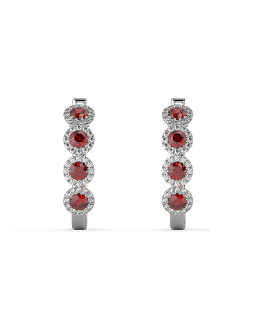 Ruby & diamond halo hoop earrings Sale - Buy Fine Diamonds