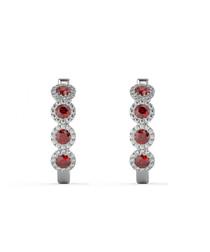 Ruby & diamond halo hoop earrings