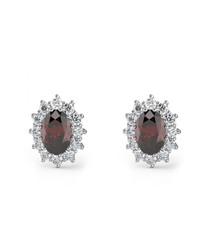 Ruby & 9k white gold oval earrings