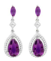 Juliet 18k gold-plated purple earrings