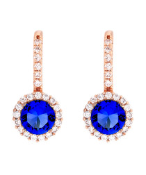 Juliet rose-plated blue drop earrings