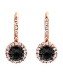 Juliet rose-plated black drop earrings