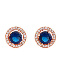 Juliet rose gold-plated blue studs