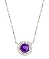 Juliet white gold-plated purple necklace