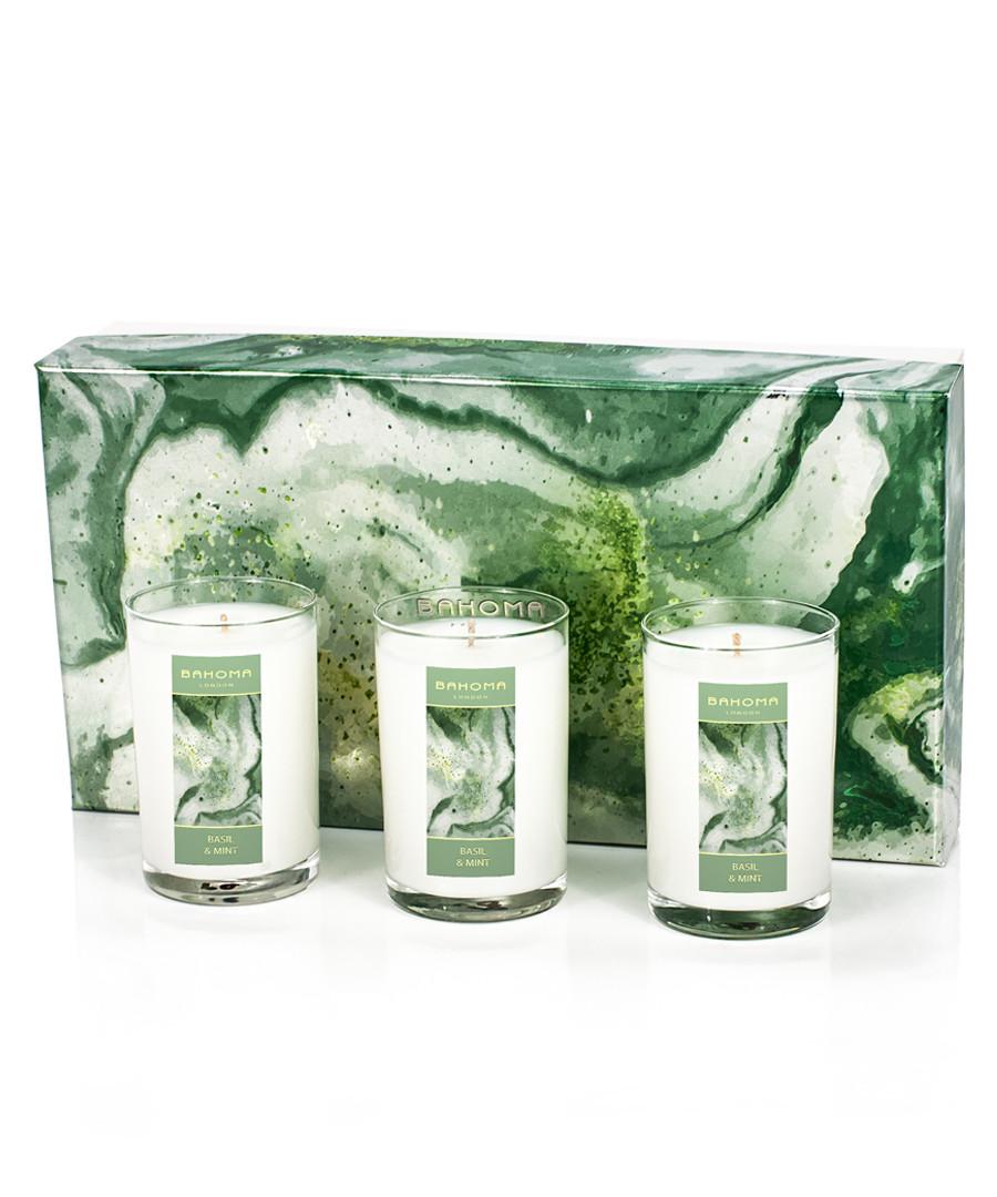 3pc basil & mint travel candle set Sale - Bahoma