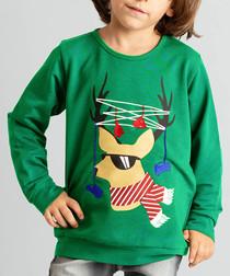 Deer Tree green pure cotton jumper