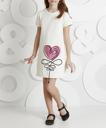 Heart white cotton dress