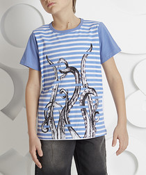 Octopus sky stripe cotton T-shirt