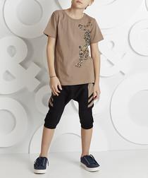 2pc Leopard brown cotton outfit set
