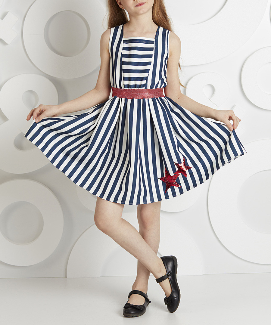 Seastars navy stripe belt dress Sale - ollie&olla