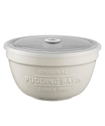 White ceramic pudding basin & lid 0.9L