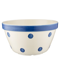 navy polka ceramic bowl 22cm