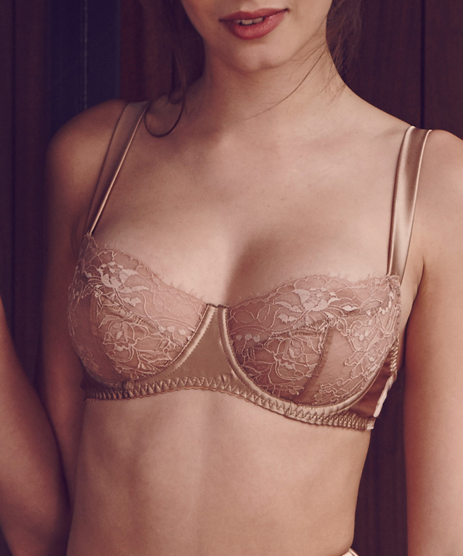 Caramel silk blend balconette bra Sale - Fleur of England