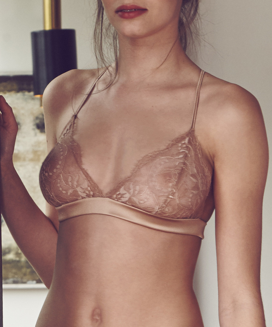 Caramel silk blend soft cup bra Sale - Fleur of England