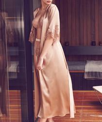Caramel silk blend full length robe