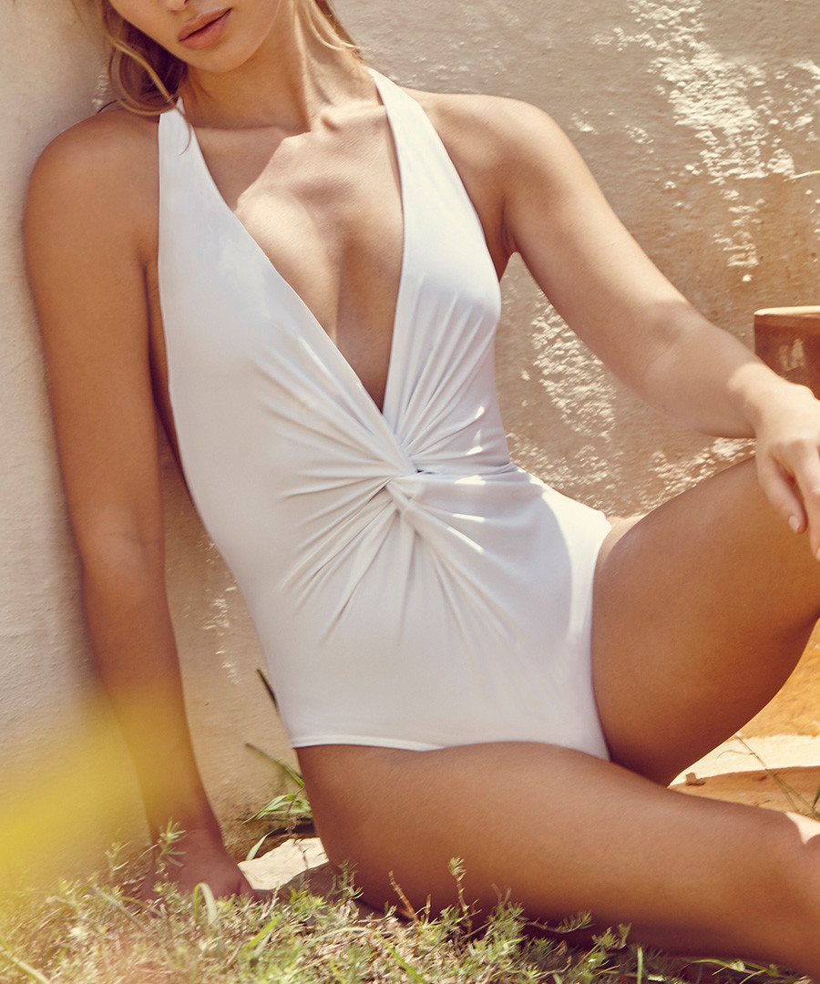 White knotted plunge swimsuit Sale - Fleur of England