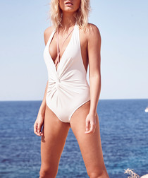 Ivory knotted plunge swimsuit