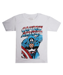 captain america white cotton T-shirt