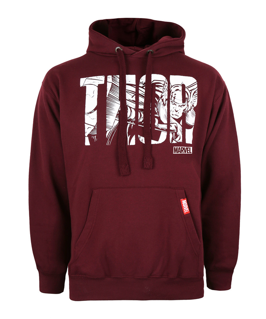 thor burgundy cotton blend hoodie Sale - marvel
