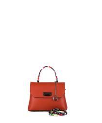 Montenapoleone orange leather grab bag