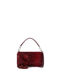 Rota red snake-effect leather grab bag