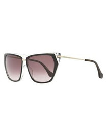 Black & red lens pentagonal sunglasses