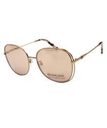 Gold-tone & blush lens sunglasses