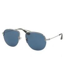 Gunmetal & blue lens sunglasses