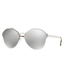 Silver-tone irregular frame sunglasses