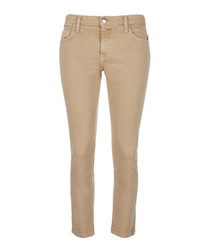 The Cropped Straight camel cotton jeans