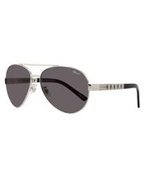 Silver-tone pilot sunglasses
