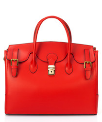 Red leather buckle satchel